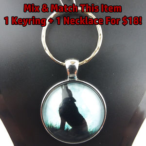 Wolf Howling Moon Photo Glass Cabochon Keychain